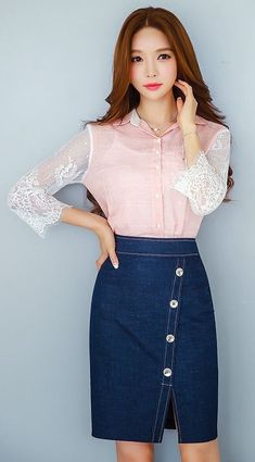 denim pencil skirt with white topstitching and white buttons detail