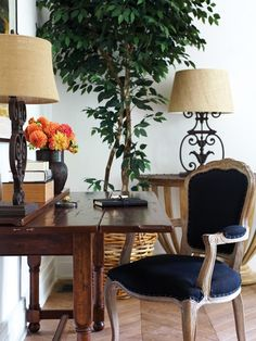 Desk chair, desk, and floor lamp, Elte.  Demi Lune Console Currey and Co. Photo Gallery: 2011 Princess Margaret Showhome   House & Home