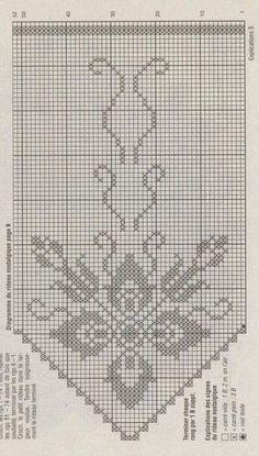 Filet Crochet, Crochet Lace Edging, Crochet Doilies, Knit Crochet, Crochet Curtain Pattern, Crochet Curtains, Curtain Patterns, Flower Embroidery Designs, Embroidery Patterns
