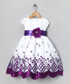 Kid Fashion White & Purple Flower Dress - Infant, Toddler & Girls by Kid Fashion