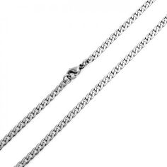 Bling Jewelry Mens 4mm Curb Cuban Stainless Steel Chain Necklace 24in