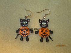 Kitty Pumpkin earrings by EagleplumeCreations on Etsy, $13.99