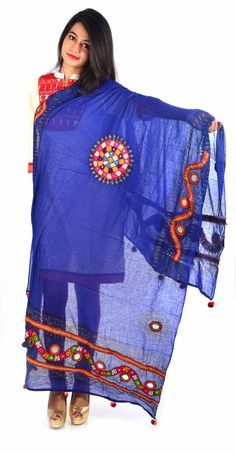 Styleincraft Handwork  cotton Royal blue designer Dupatta. This combination is unique mix and match embroidery work and block printing. you can find our best collection in Dupattas. This is   Traditional work dupattas wear on  multiple dresses as multi color thread embroidery #Womenswallets #Pursesonline #Handmadeitems #Styleincraft