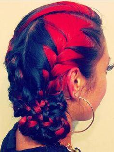 Reb black braided dyed hair @liezelstyles