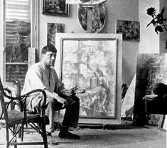 Georges Braque in his studio, 1912 (age 30).   Photo Archives Laurens.