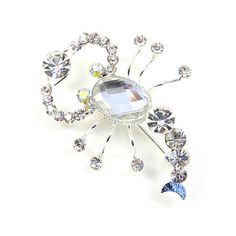 Star Sign Silver and Crystal Scorpio Brooch