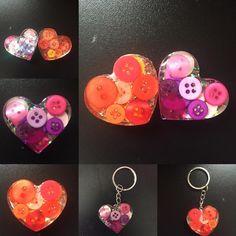 Resin heart key chains  #resin #resincharms #heart #keychain #button #orange…