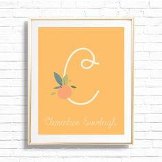 Orange Clementine Name & Initial Nursery Art Print Printable | Etsy Bee Nursery, Nursery Art, Personalized Wall Decor, Hey Mama, Baby Monogram, Art File, Baby Girl Gifts, Printable Art, Crib