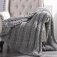 Cottage Lane Chunky Knit Acrylic Throw Blanket, x Gray Chunky Knit Throw, Chunky Blanket, Faux Fur Throw, Bed Runner, Modern Farmhouse Kitchens, Farmhouse Style, Knitted Throws, Sofa Throw, Fall Table