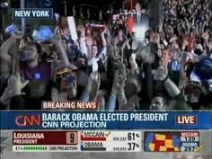 Virginia projection then the Breaking news that Barack Obama broke 270 electoral votes and the reactions of the masses seen in Chicago and thoroughout the world.