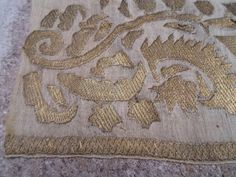 Ottoman antique turkish gold embroidered hand towel by ArasCarpet