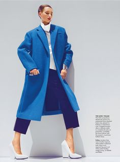 Stylist Patric Chauvez assembles a wardrobe of bright hued, super sized silhouettes, including big coats and menswear inspired selects for the glossy cover story of Chicago Tribune's September issue. Lensed by Kevin Sinclair, model Georgina Stojiljkovic.