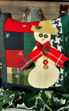 Primitive Stitchery Snowman Wool Shelf tuck, bowl filler, shelf sitter, pillow #NaivePrimitive #Artist Primitive Pillows, Primitive Stitchery, Potpourri, Bowl Fillers, Christmas Stockings, Snowman, Shelf, Wool, Create