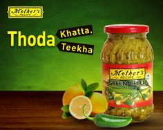 Get the lip smacking taste of chilies, lime and spices in a 300 gms jar.  Mother's Recipe lime chilli pickle.