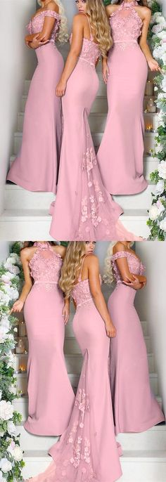Pretty pink mermaid long bridesmaid dresses lace embroidery
