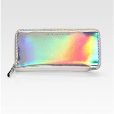 Marc by Marc Jacobs Techno Holographic Leather Slim Zip-Around Wallet found on Polyvore