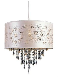 Trans Globe Lighting PND-607 Satin Flower Wreaths Crystal Pendant In Ivory - Great price!