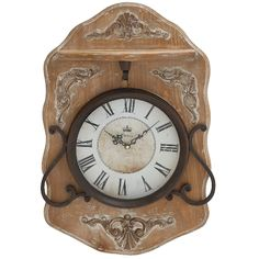 Woodland Imports' Bratsell wall clock is a creative and stylish timepiece that will enhance the beauty of any decor. This creative wall clock is constructed from wood and metal, with an elegant french-themed casing. The traditional dial features a cream face, contrasting black Roman numerals and matching black ornate clock hands. This clock will make the perfect addition to any traditional decor.