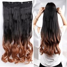 S-noilite 3/4 Full Head Clip in Hair Extensions Ombre Dip Dye Long One Piece 5 Clips (23 Curly, Dark Black to Light Auburn) ** This is an Amazon Affiliate link. Learn more by visiting the image link.