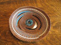"Pine Needles Braceles   Beautiful pine needle art basket sculpture fiber art ""Spotted ..."