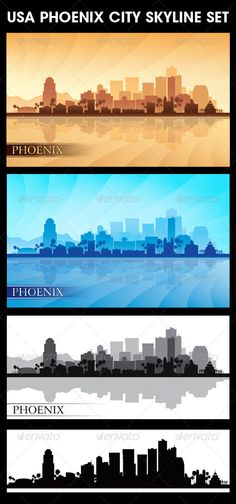 Phoenix USA City Skyline Silhouettes Set