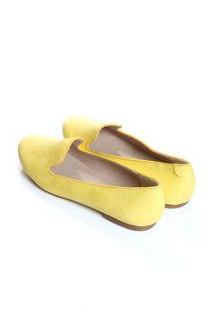 Deena Lemon Leather Look Slipper Shoes at boohoo.com