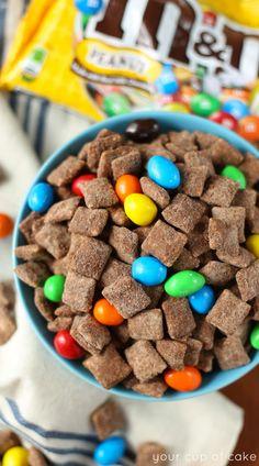 Chocolate Brownie Muddy Buddies (rice chex, better than PB, brownie mix or chocolate protein powder)
