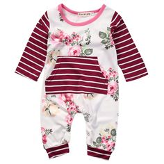 - Baby Girl - Romper - Long Sleeve - Floral - Stripes Free Shipping! Please allow 2-4 weeks for delivery.
