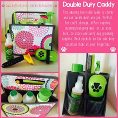 """LOVING this brand new """"Double Duty Caddy"""" from the Spring/Summer 2015 catalog! I am using it as a dog grooming kit, but must have another for incoming/outgoing mail in the kitchen! Several patterns to choose from. And, in typical thirty-one fashion, it has a countless number of potential uses!  www.mythirtyone.com/colleenscloset"""