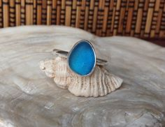 Handmade Sterling silver and sea glass stacker ring - size UK I  US 4.5 by BeeCreativeCraftsUK on Etsy