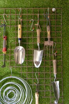 How to upcycle and organise the shed - The Middle-Sized Garden - Clever shed storage ideas You are in the right place about garden shed Here we offer you the most b - Painted Garden Sheds, Garden Shed Diy, Garden Tool Storage, Diy Shed, Shed Storage, Garden Tools, Storage Ideas, Garage Storage, Small Garden With Shed