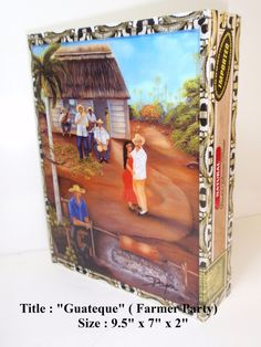 Cuban paintings on top Original Cigar Box  .Five by thebestart1122