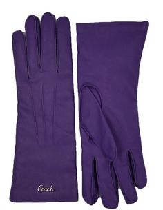 COACH Woman's Purple Leather Cashmere Lined Logo Everyday Winter Gloves F82835 #Coach #WinterGloves