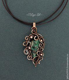 "Кулон ""Таинственный лес"", медь и фуксит. Handmade."