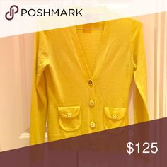 Tory Burch yellow cardigan with gold buttons Button-front sweater with pockets Tory Burch Sweaters Cardigans