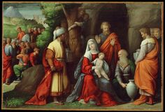 Benvenuto Tisi | Italian, 1481 – 1559 | Adoration of the Magi | ca. 1534 | Oil on panel | 15 1/8 x 23 inches | Gift of the Samuel H. Kress Foundation |   58.44