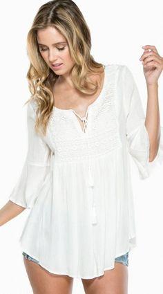 Neri Crochet Blouse in White