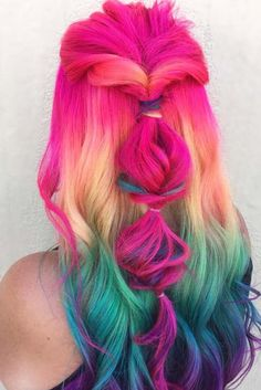 Beauty: Fantasy Unicorn Purple Violet Red Cherry Pink yellow Bright Hair Colour Color Coloured Colored Fire Style curls haircut lilac lavender short l. Twisted Hair, Bright Hair Colors, Colorful Hair, Hair Colours, Rainbow Hair Colors, Mermaid Hair Colors, Colorful Food, Mermaid Style, Super Hair