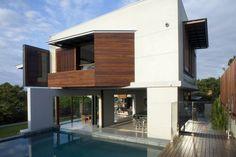 แบบบ้านปูนสองชั้น มีสระว่ายน้ำ