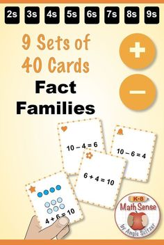 Get 9 different sets for practice with addition/subtraction fact families. Kids LOVE to match cards. Second Grade Games, 1st Grade Math, Grade 1, Math Card Games, Family Card Games, Primary Maths Games, Math Activities, Math For Kids, Fun Math