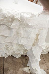 ruffled table cloth from Purdue Avenue