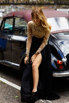 2016 Long Sleeve Evening Dresses Zipper Back Evening Wear Dress Side Split Sheath Appliques Sequins New Vestidos For Party Formal Prom Gowns The Blonde Salad, Prom Dresses Long With Sleeves, Black Prom Dresses, Dress Prom, Long Dresses, Dress Lace, Chiffon Dress, Dress Sleeves, Lace Chiffon