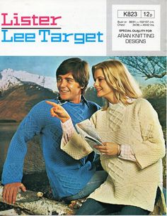 Vintage 70s ladies / mens aran tunics unisex knitting pattern pdf ladies cable sweater 34-42 inch aran worsted 10ply Instant download by Hobohooks on Etsy
