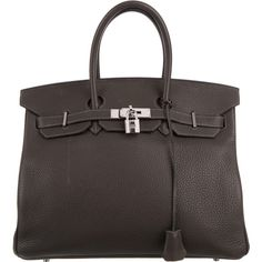 Pre-owned Herm?s Clemence Birkin 35 (€10.600) ❤ liked on Polyvore featuring bags, handbags, grey, gray handbags, handbag purse, leather hand bags, man bag and grey handbags