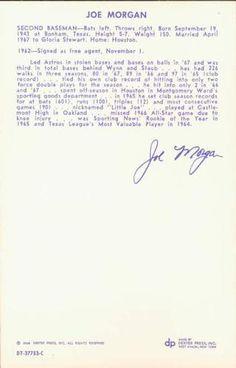 1968 Dexter Press Houston Astros #10 Joe Morgan Back
