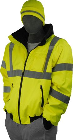 3186a202a54 Majestic 75-1300 Hi Vis Yellow Bomber Jacket ANSI Class 3 Fixed Liner  Raincoats For