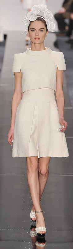 Chanel ~ Haute Couture Ivory Cape Dress Midi Dress