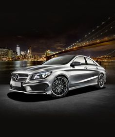 2014 Mercedes-Benz CLA-Class in front of the renowned New York City skyline
