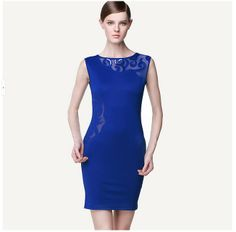 European and American women's sleeveless lace sexy Slim hollow embroidery bodycon Pencil Dress Cocktail Party Dress New Summer Style Features: Intro: Sleeveless, Above-knee, Tunic, Slim, Elegant, Cocktail party wear. Color: Blue Material: 95% polyester + 5% spandex Package:  1 x Dress (other accessories on pictures are NOTincluded.) US SIZE : 4-14 www. apuremall.com