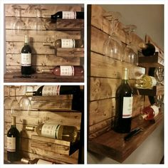 Rustic style hanging wine rack. www.facebook.com/crockertwincreations Hanging Wine Rack, Rustic Wine Racks, Rustic Style, Facebook, Furniture, Home Decor, Rugged Men's Fashion, Interior Design, Home Interior Design